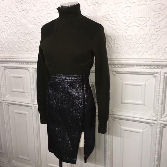 Aqua Dresses & Skirts - NWT Aqua Metallic Blue Pencil Skirt w/Front Zipper